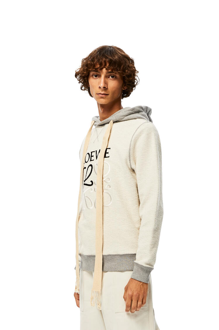 LOEWE Reversible Anagram Embroidered Hoodie In Cotton Grey Melange pdp_rd