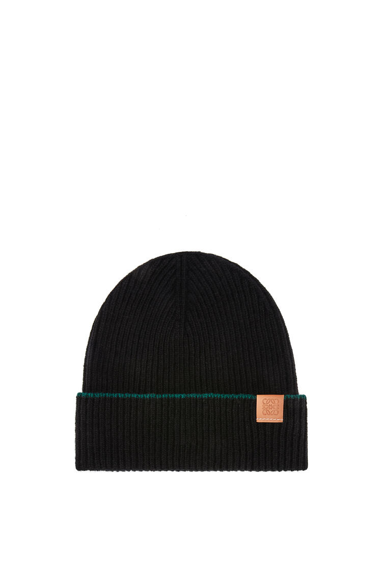 LOEWE Knitted beanie hat in wool Black pdp_rd