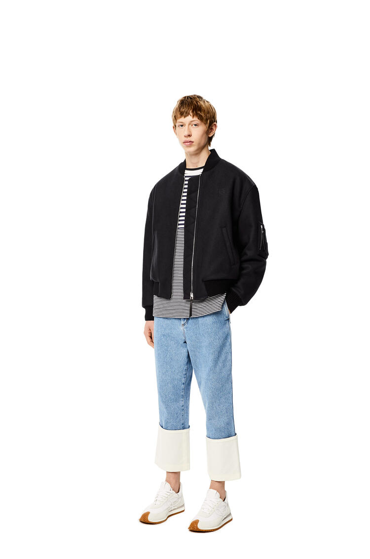 LOEWE Bomber jacket in wool and polyester Dark Navy Blue pdp_rd