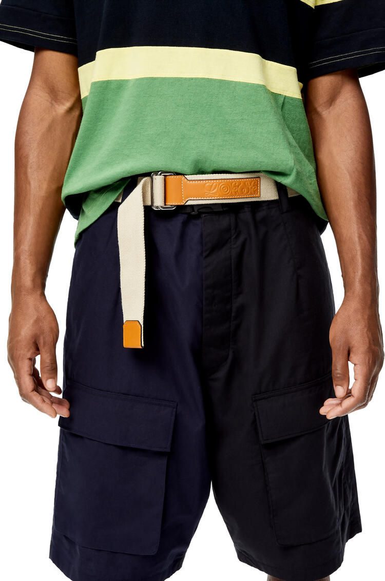 LOEWE Belt in recycled canvas and calfskin Light Oat pdp_rd