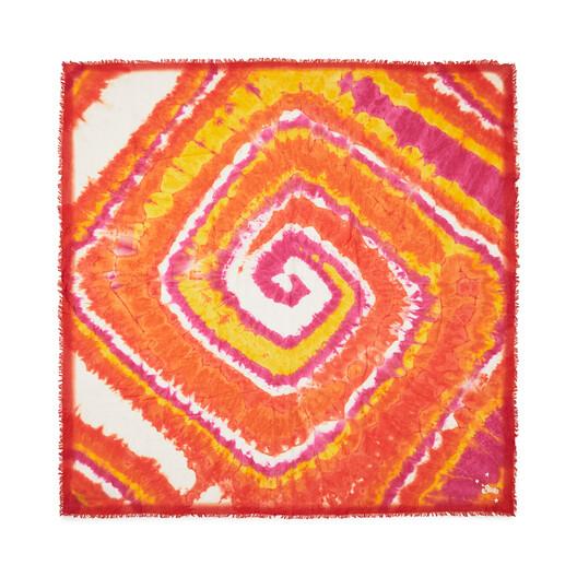 LOEWE 140Cm X 140Cm Spiral Scarf In Tie Dye Cashmere Orange/Pink front