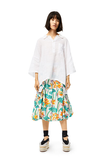 LOEWE Cargo Skirt In Waterlily Cotton And Silk White/Orange front