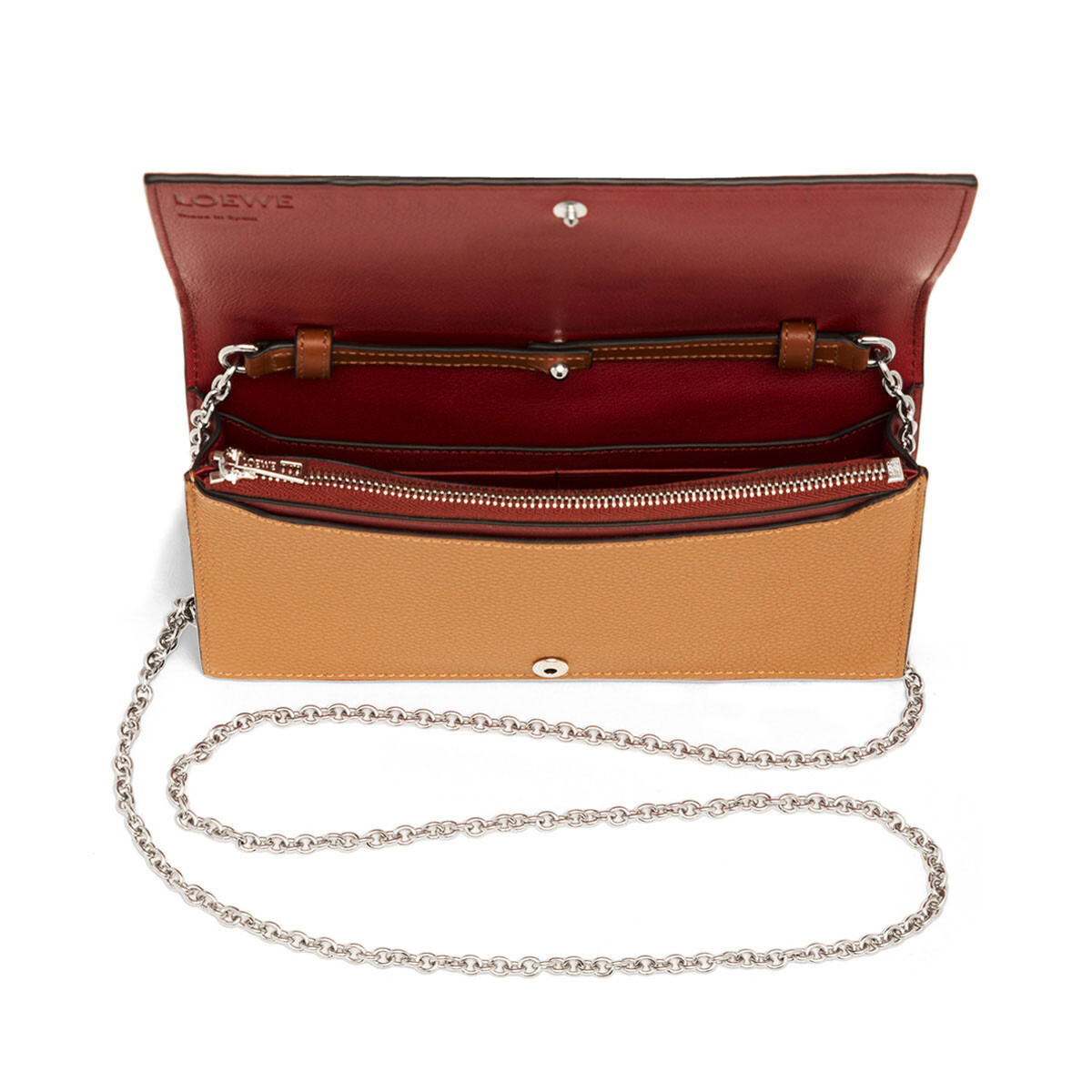 LOEWE Wallet On Chain Light Caramel/Pecan front