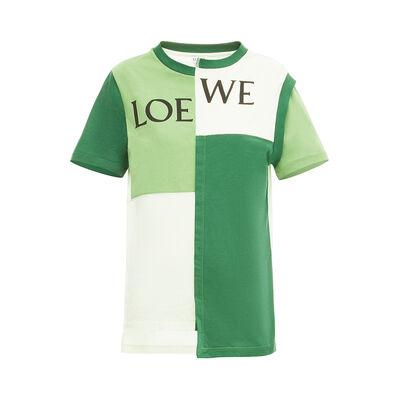 LOEWE Patchwork Loewe T-Shirt Green Multitone front