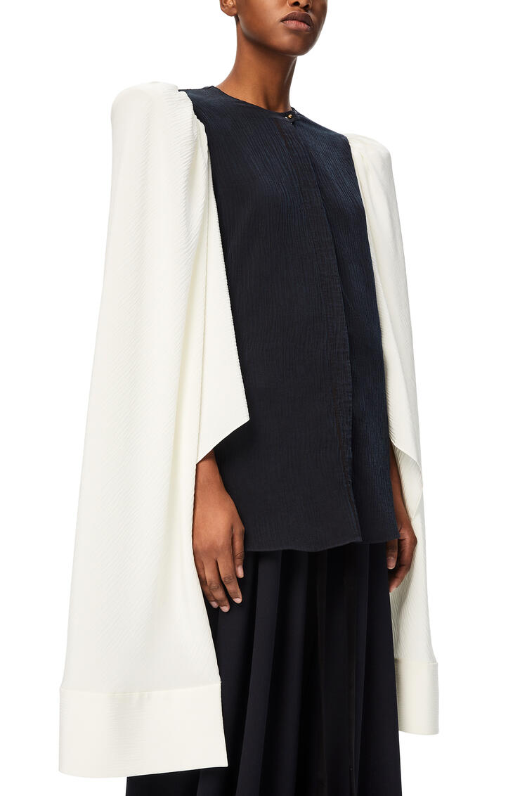 LOEWE Open sleeve blouse in silk Navy/White pdp_rd