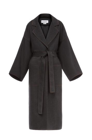 LOEWE Oversize Belted Coat Gris Melange front