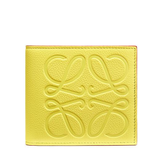LOEWE ブランド ビフォールド コイン ウォレット Lime front