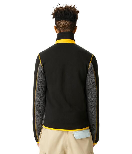 LOEWE Turtleneck Fleece Jacket Gris Oscuro/Negro front
