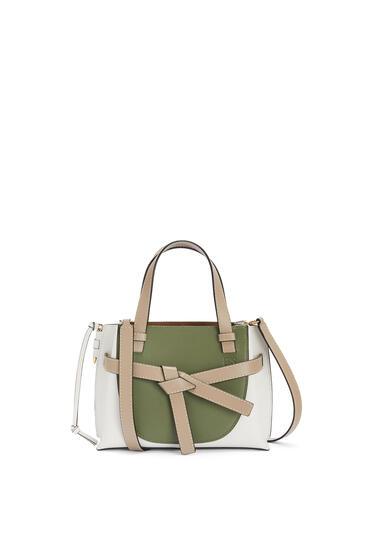 LOEWE Mini Gate Top Handle bag in soft calfskin Avocado Green/Sand pdp_rd