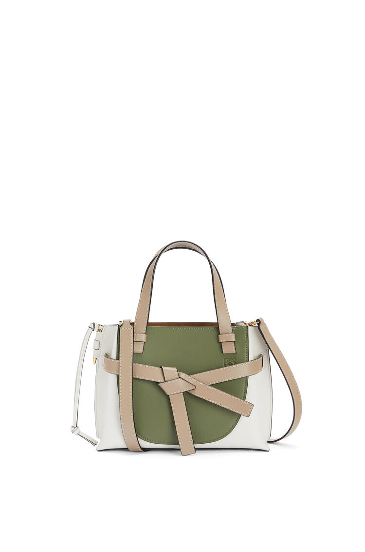 LOEWE Mini Gate Top Handle bag in soft calfskin Avocado Green/Sand pdp_rd