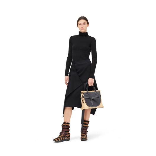 LOEWE Gate Top Handle Small Bag Black/Natural front