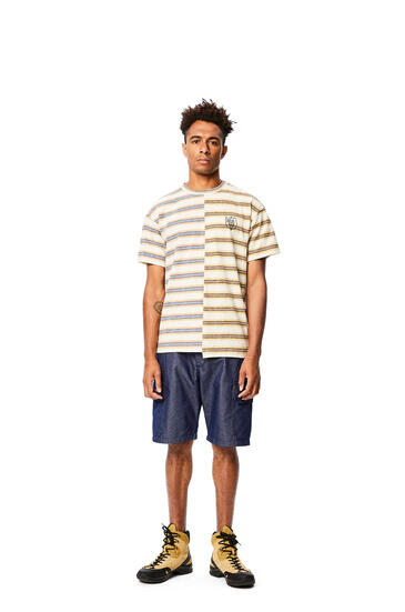 LOEWE Asymmetric t-shirt in striped cotton Multicolor pdp_rd