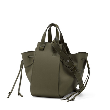 LOEWE Hammock Drawstring Small Bag Khaki Green front