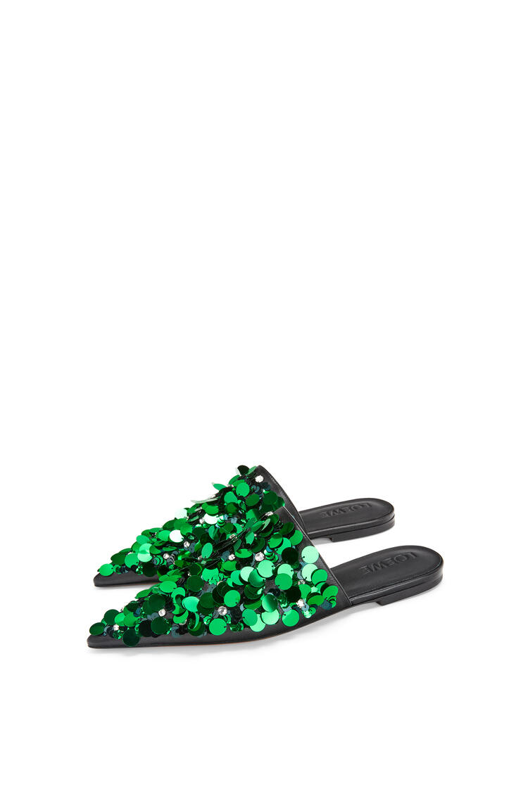 LOEWE Embroidered pointy slide in calfskin Emerald Green pdp_rd