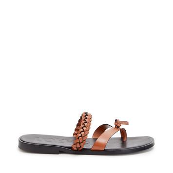 LOEWE Braided Flat Sandal In Calfskin Tan front