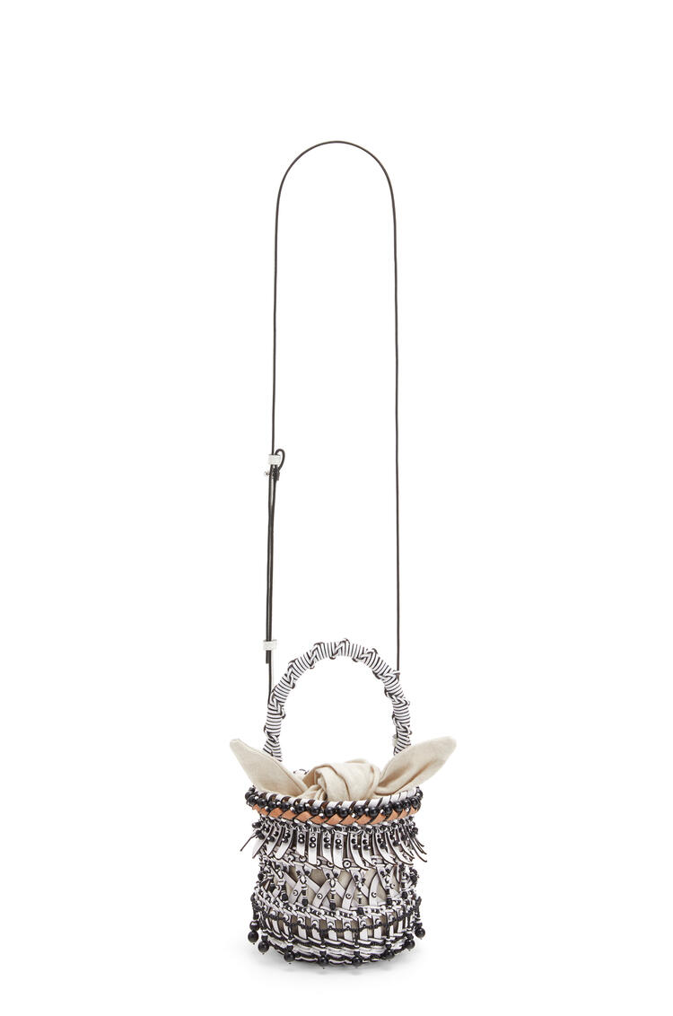 LOEWE Small beaded Bucket fringes bag in calfskin White pdp_rd