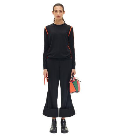 LOEWE ストラップセーター ブラック/オレンジ front