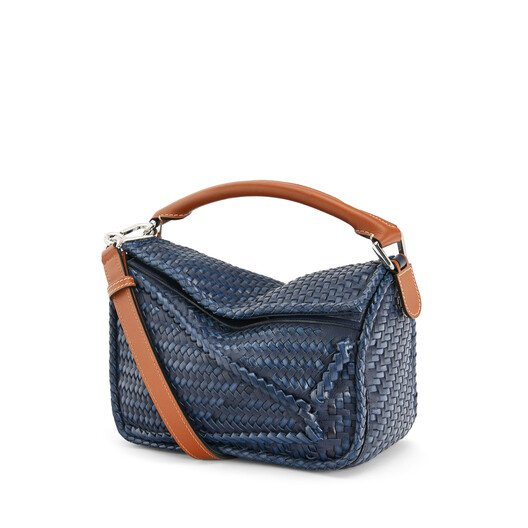 LOEWE Puzzle Woven Small Bag Navy Blue front