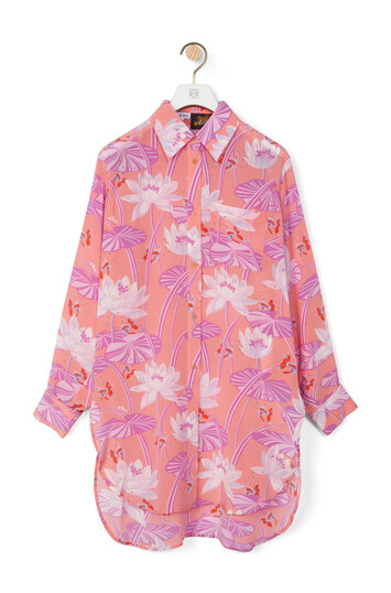 LOEWE Oversize Shirt In Waterlily Silk Salmon front