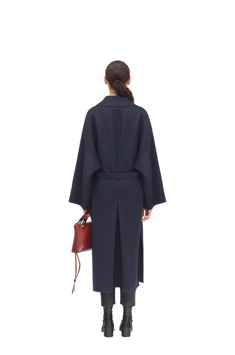 LOEWE Oversize belted coat in cashmere and silk Navy Blue pdp_rd