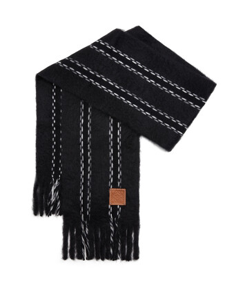 LOEWE 25X180 Scarf Mohair Stitches Negro front