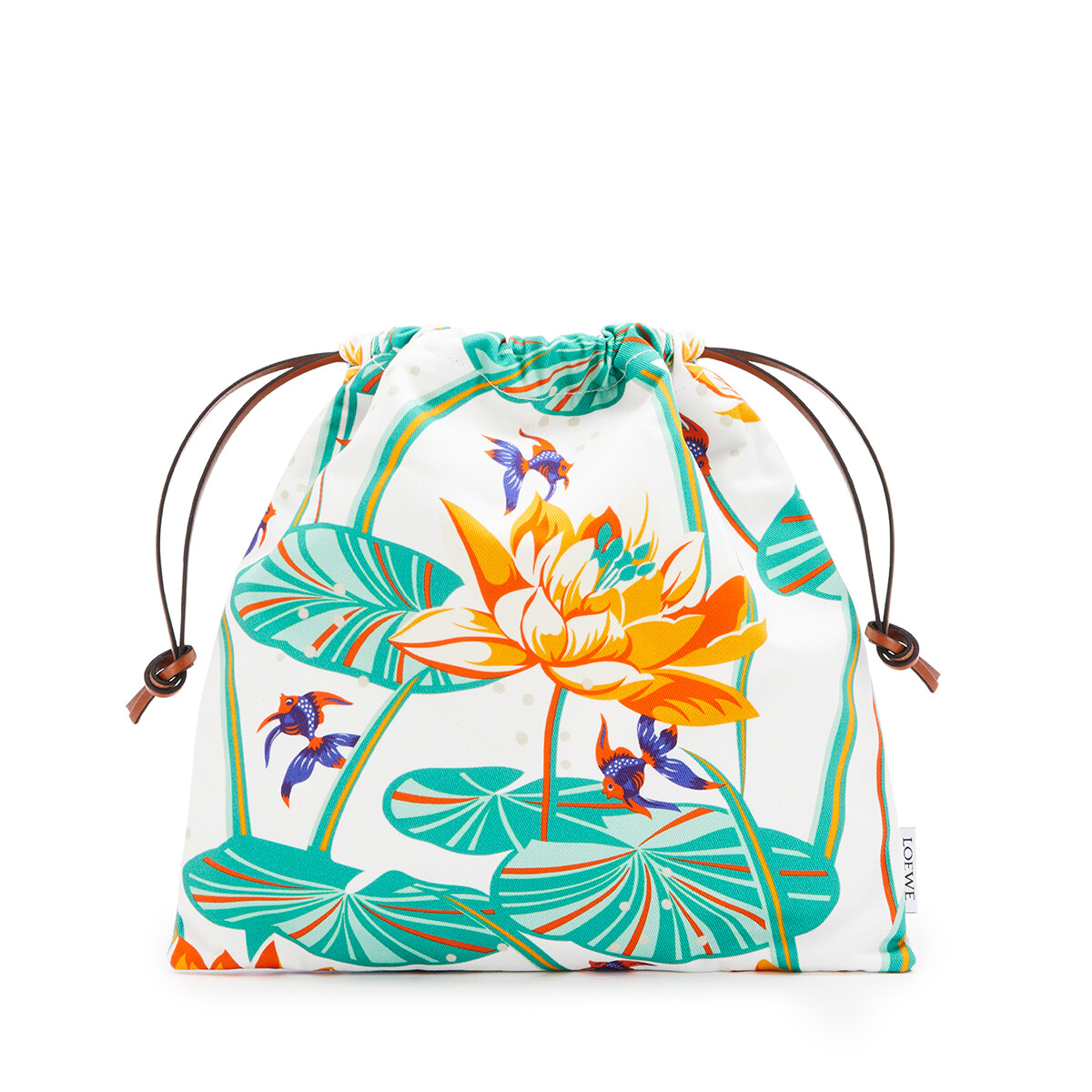 LOEWE Small Drawstring Pouch In Waterlily Canvas Aqua/White front