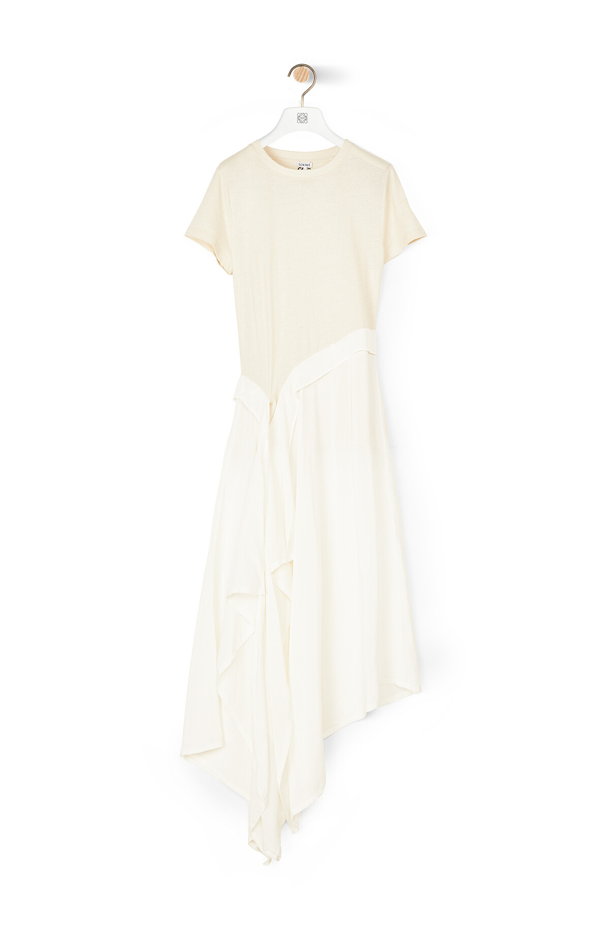 LOEWE Satin & Jersey T-Shirt Dress Blanco/Crudo front