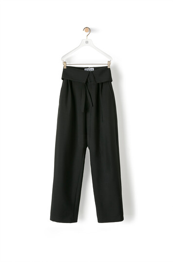 LOEWE Belted Pleated Trousers Negro front