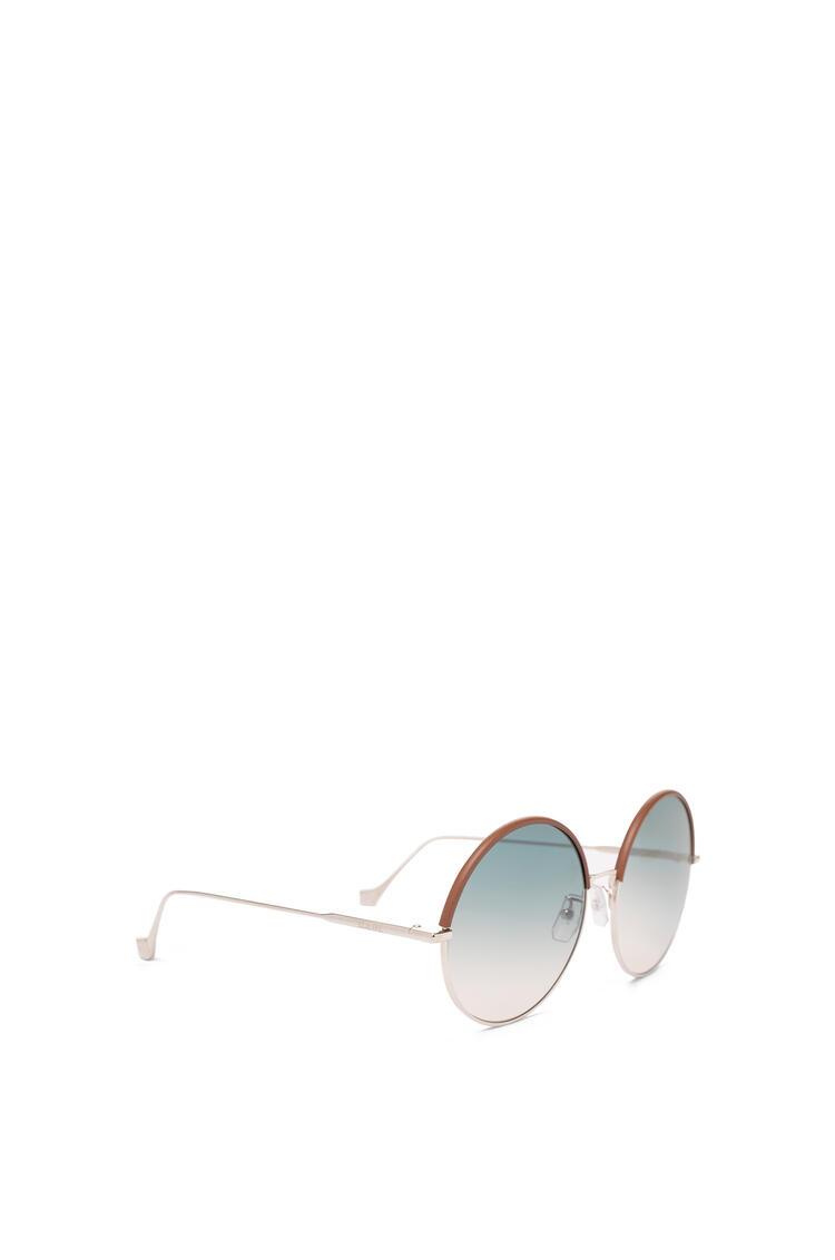 LOEWE Round Sunglasses in metal and calfskin Brown/Gradient Sand pdp_rd
