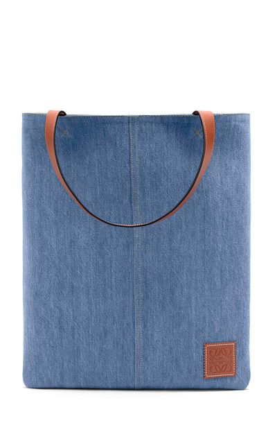 LOEWE Vertical Tote Stripes Bag Multicolor/Bue Denim/Tan front