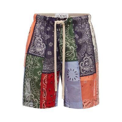 LOEWE Shorts Bandana Patchwork マルチカラー front