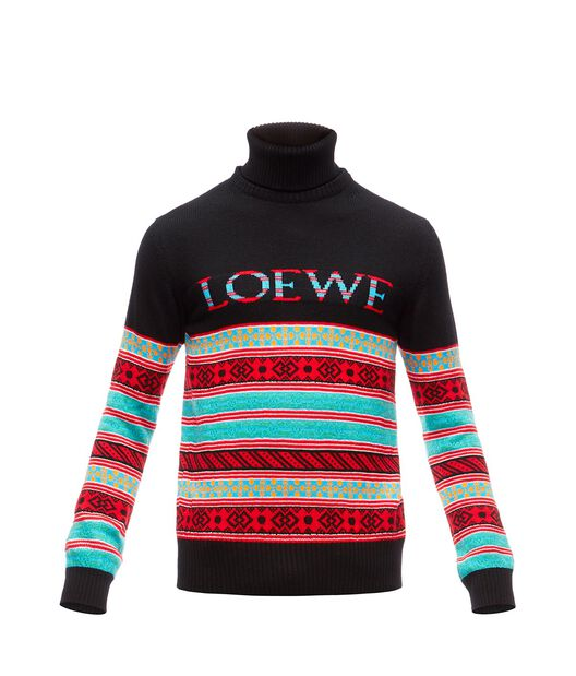 LOEWE ロエベジャガードセーター ブラック/マルチカラー front