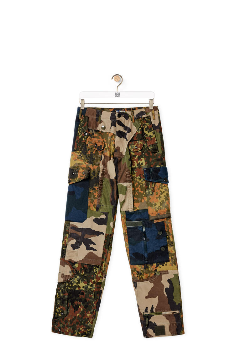 LOEWE Camouflage cargo trousers in cotton and polyester Khaki Green/Blue pdp_rd