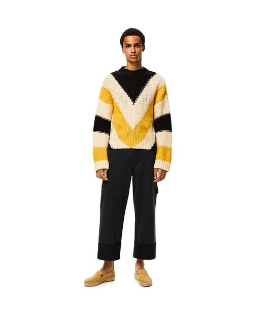 LOEWE Stripe Crewneck Sweater Amarillo/Negro front