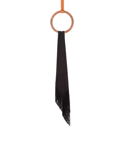 LOEWE 26X176 Scarf Lavaliere Fringes Black front
