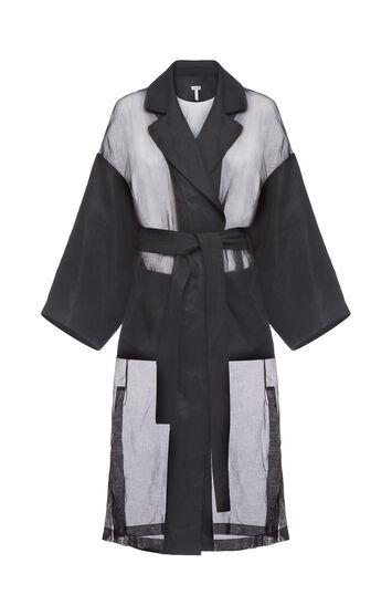 LOEWE Organdy Oversize Belted Coat Black front