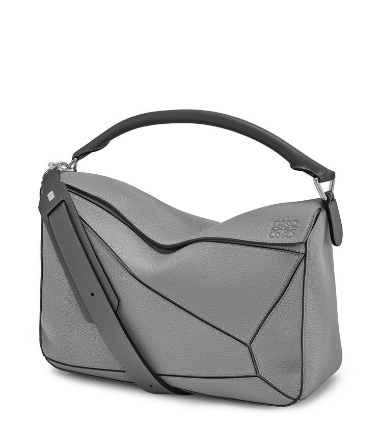 LOEWE Large Puzzle bag in soft grained calfskin Gunmetal pdp_rd