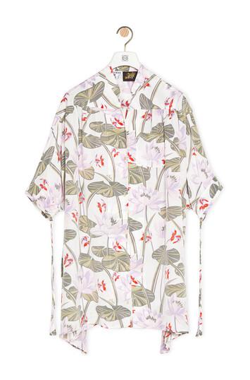 LOEWE Oversize Shirt In Waterlily Silk White/Pink front