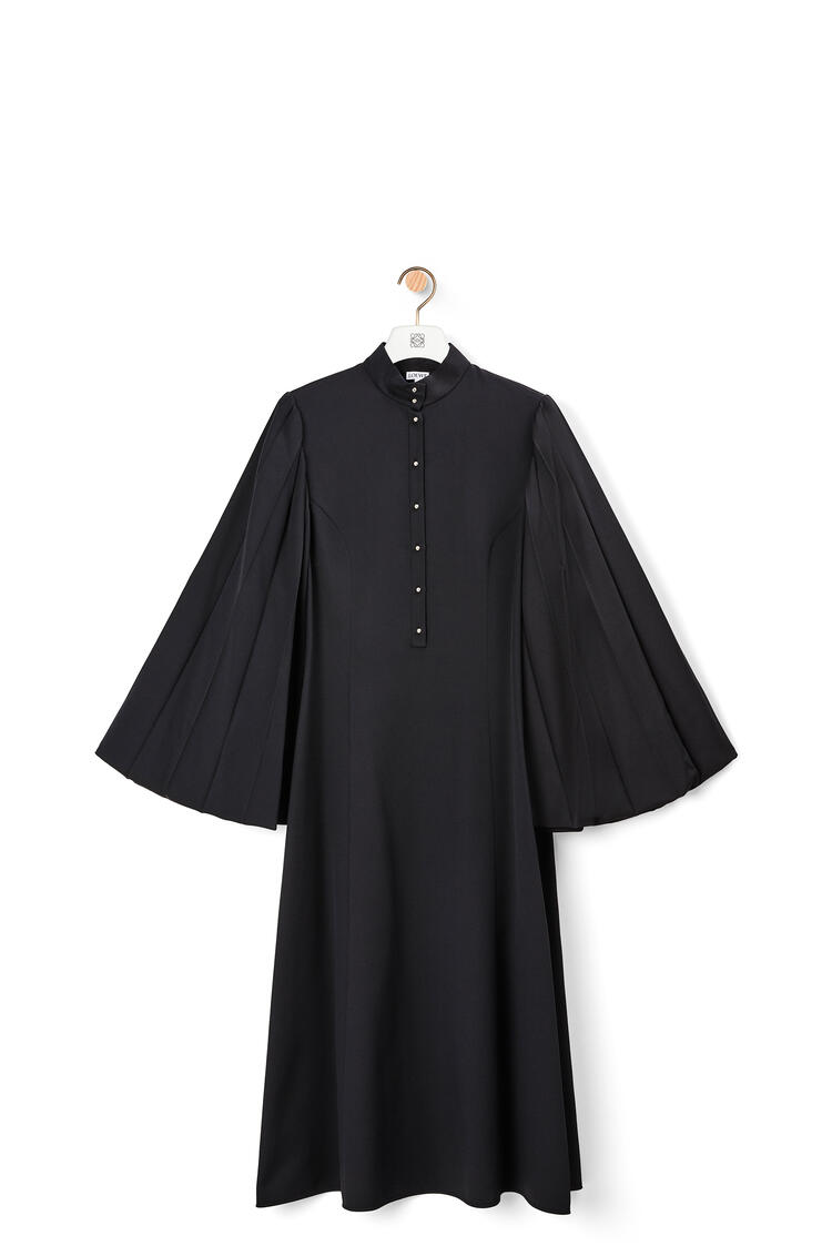LOEWE Pleated sleeve midi dress in cotton and silk Dark Navy Blue pdp_rd