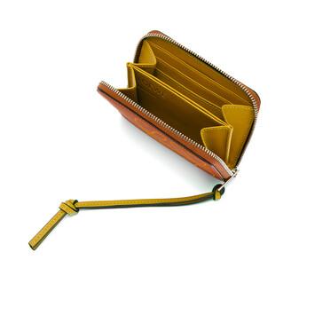 LOEWE Brand 6 Card Zip Wallet Tan/Ochre front