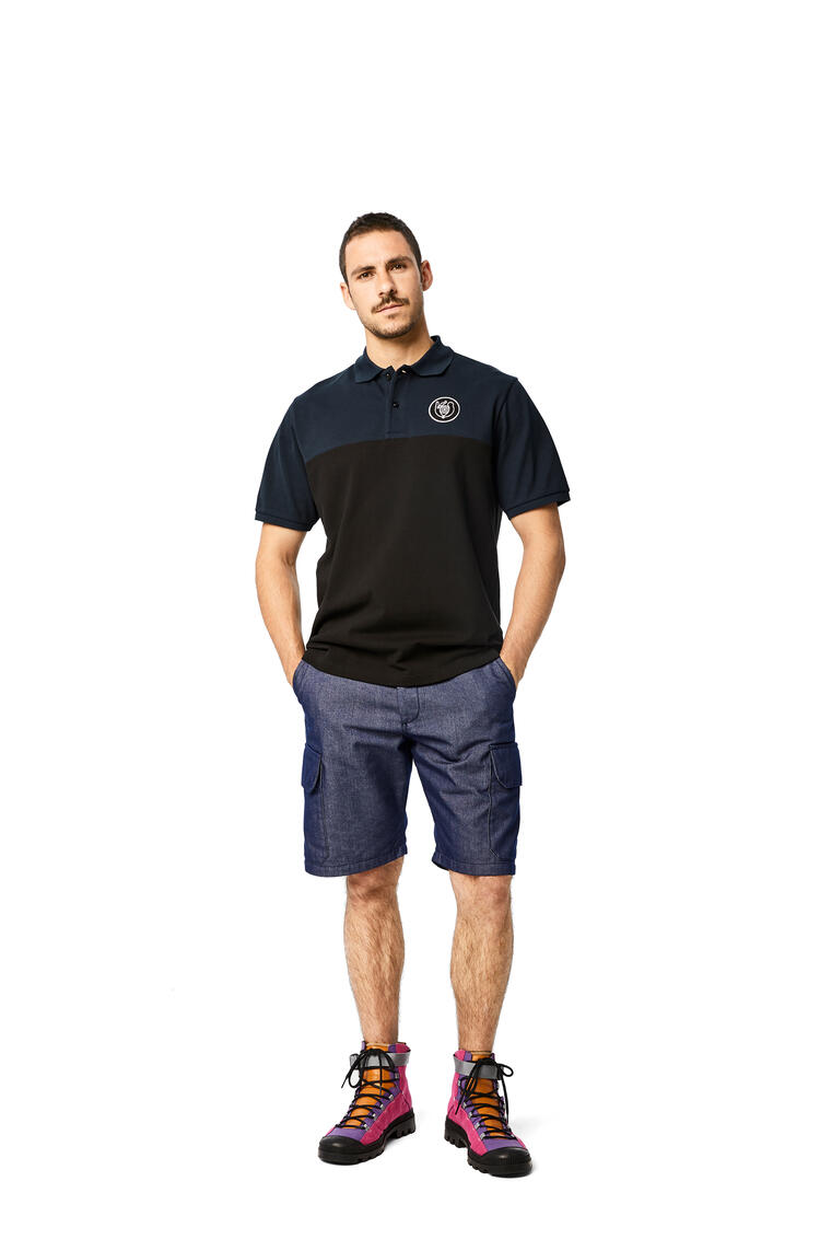 LOEWE Polo in cotton Navy Blue/Black pdp_rd