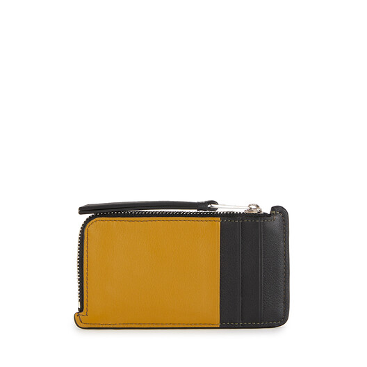 LOEWE Puzzle Coin Cardholder Khaki Green/Ochre front