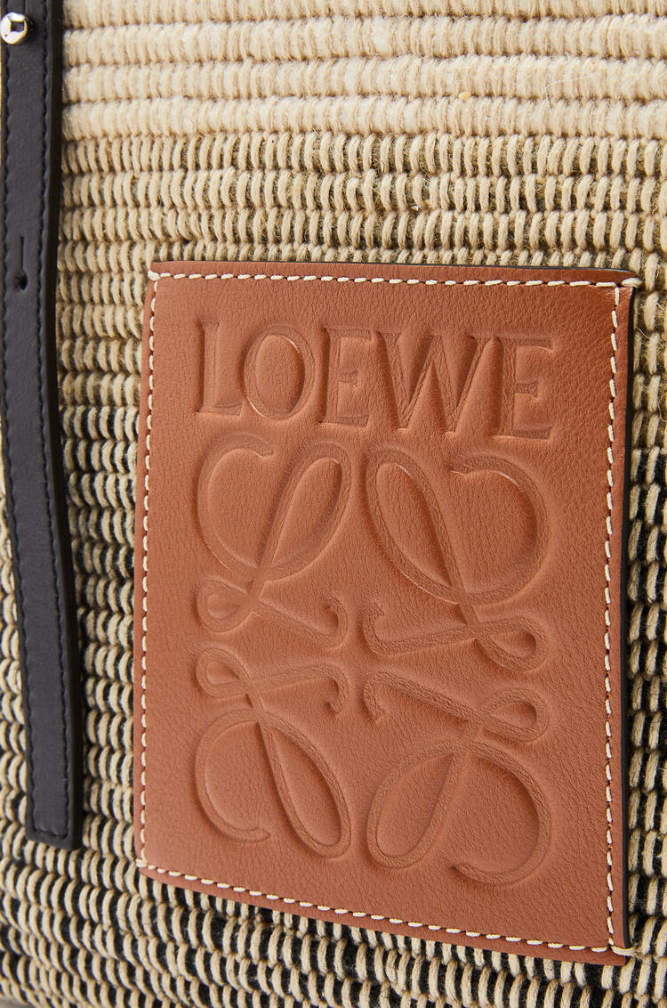LOEWE Small Square Basket bag in textile and calfskin Tan/Black pdp_rd
