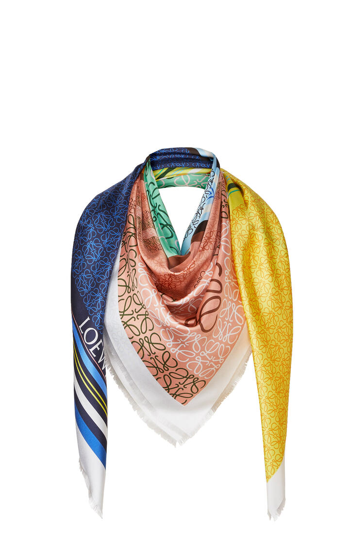LOEWE 140 x 140 cm scarf in silk yellow/blue pdp_rd