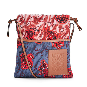 LOEWE Pouch Ajustable Pequeña Paula's Azul/Rojo front