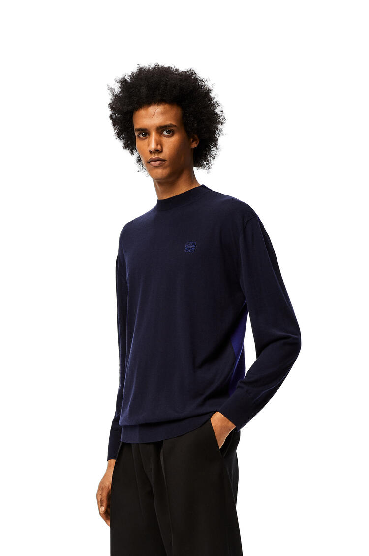 LOEWE Anagram embroidered sweater in wool Navy Blue/Blue pdp_rd