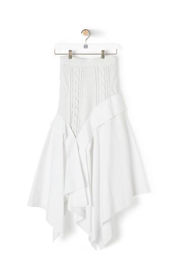 LOEWE Knit & Popeline Skirt Blanco front