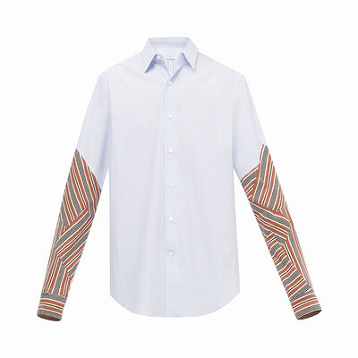 LOEWE Patchwork Sleeve Shirt White/Blue front