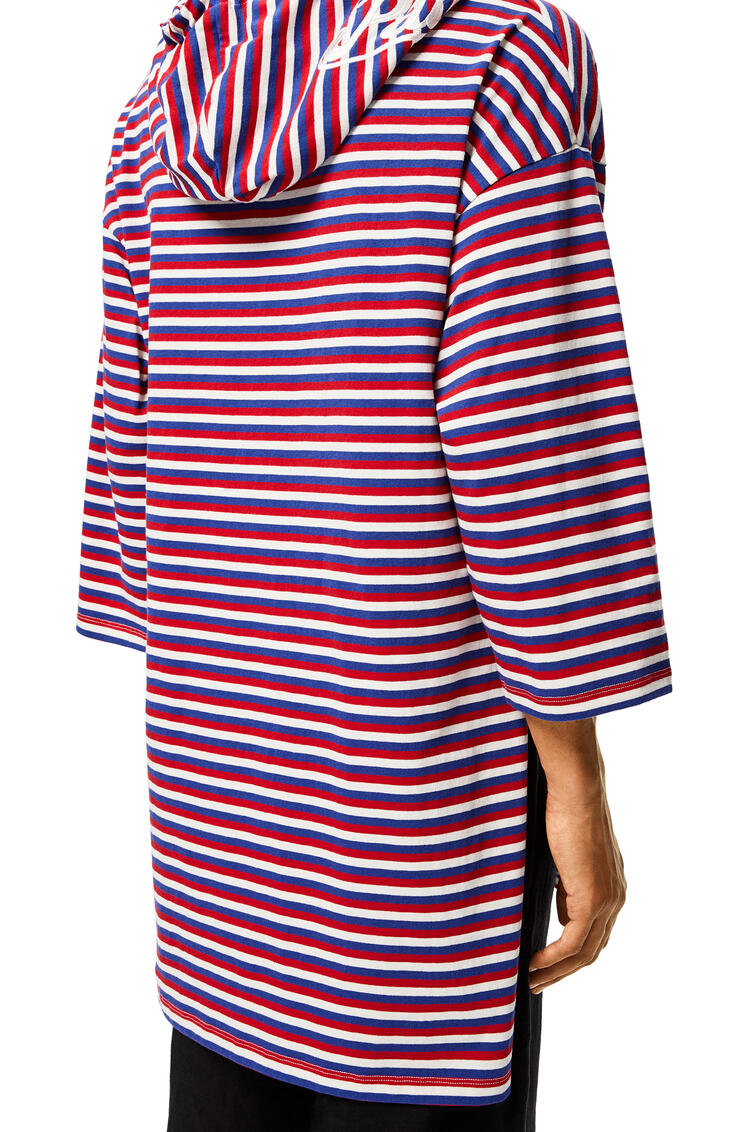 LOEWE Hooded Tunic In Striped Polyamide Red/White/Blue pdp_rd