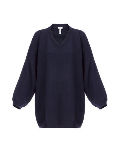 LOEWE Oversize V-Neck Sweater Navy Blue front